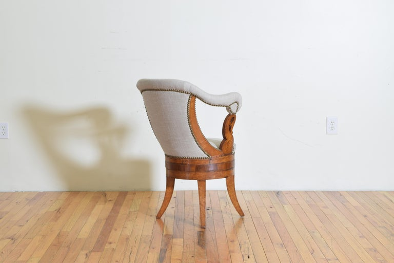 Italian Charles X Period Rosewood and Maple Veneered Armchair, circa 1830-1840 1