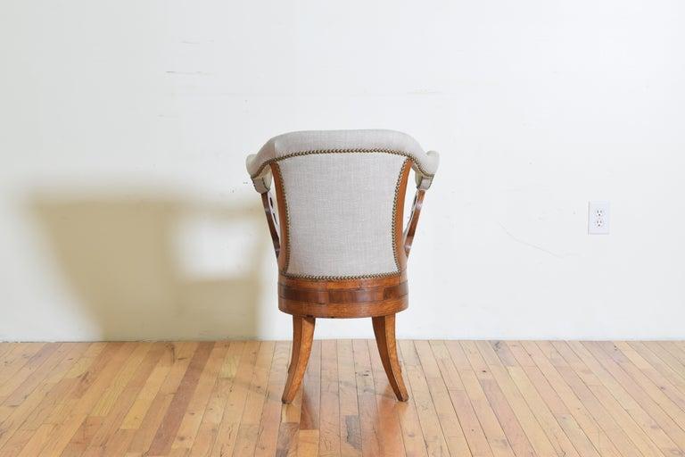 Italian Charles X Period Rosewood and Maple Veneered Armchair, circa 1830-1840 2