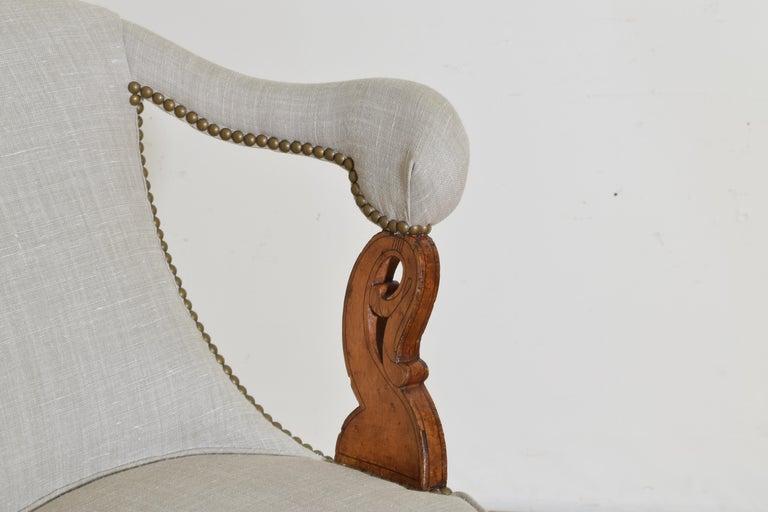 Italian Charles X Period Rosewood and Maple Veneered Armchair, circa 1830-1840 3