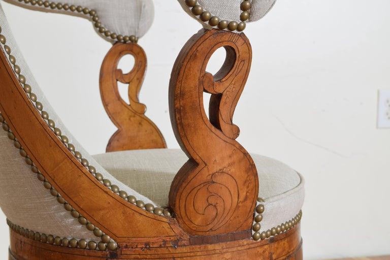 Italian Charles X Period Rosewood and Maple Veneered Armchair, circa 1830-1840 5