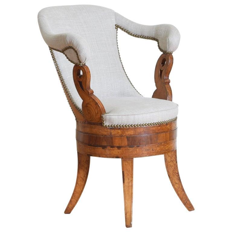 Italian Charles X Period Rosewood and Maple Veneered Armchair, circa 1830-1840