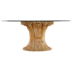 Italian Chelini Carved Wheat Sheaf Oval Dining Table