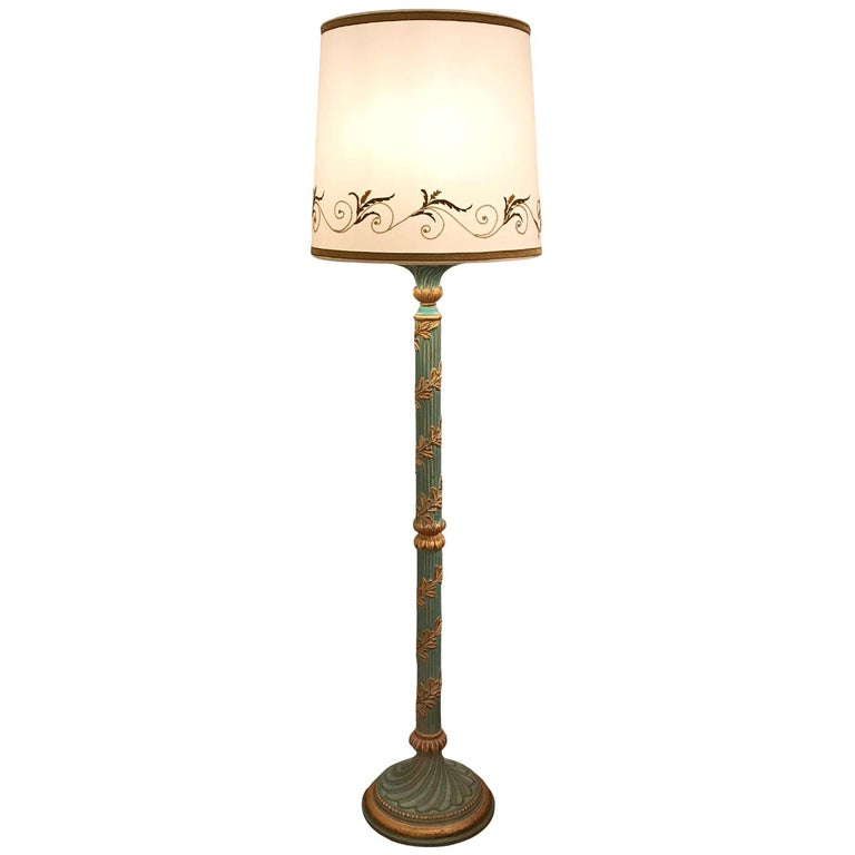 Italian Chelini Firenze Green Turquoise Floor-Lamp Base with Gilt Wood Elements For Sale