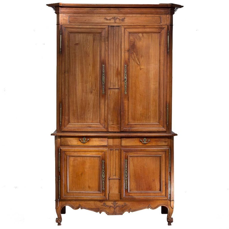 Italian Cherry Buffet Deux Corps For Sale