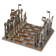 Italian Chess Set in Solid Cast Bronze and Metal