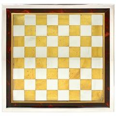 Italian Chessboard Chess in Romeo Rega Style Brass Chrome Lucite Tortoise, 1970s