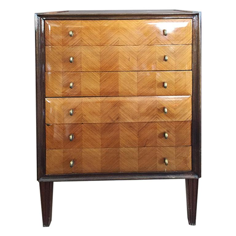 Italian Chest of Drawers in Wood , 1940s