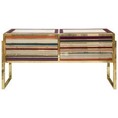 Italian Chest of Drawers in Tinted Glass and Brass with Four Drawers