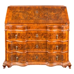 Italian Chest of Drawers, Italy 18th Century Walnut Wood Veneer Bureau Louis XIV