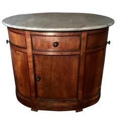 Italian Chestnut Oval Cabinet with Grey Marble Top