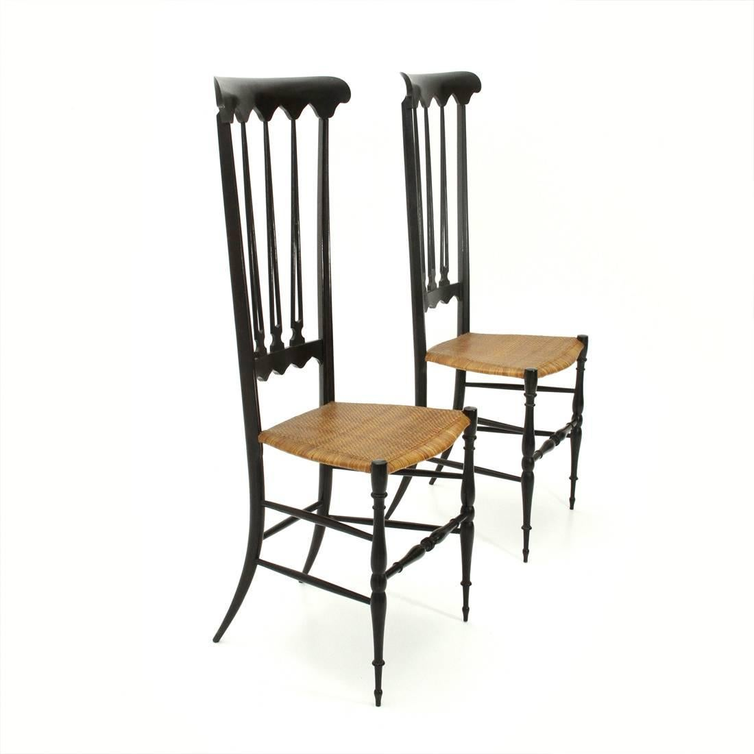 Two Chairs Produced In The 1950s By The Company Sanguineti And Zunino Di  Chiavari. Ebonized