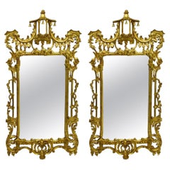 Italian Chinese Chippendale Style Giltwood Mirrors by Decorative Crafts, Pair