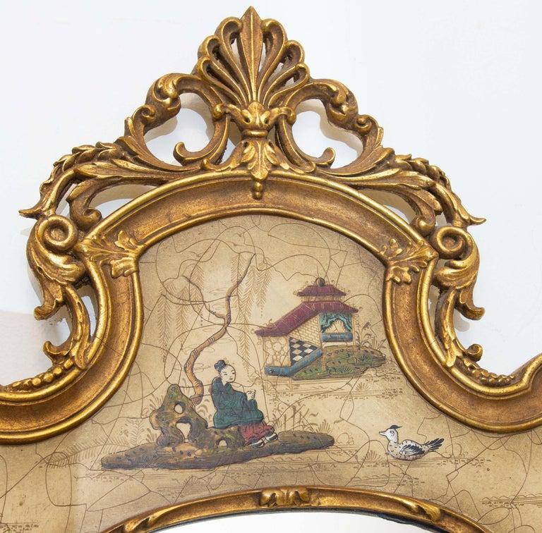 Venetian style chinoiserie gilt mirror, circa 1960s. Italian.