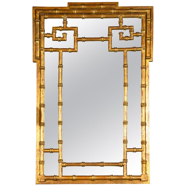 Italian Chinoiserie Giltwood Faux Bamboo Mirror For Sale