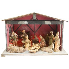 Italian Christmas Nativity Scene with 10 Traditional Figures and Wooden Stable