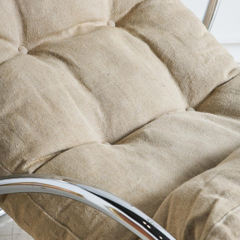 Italian Chrome Accent Chair For Sale 1