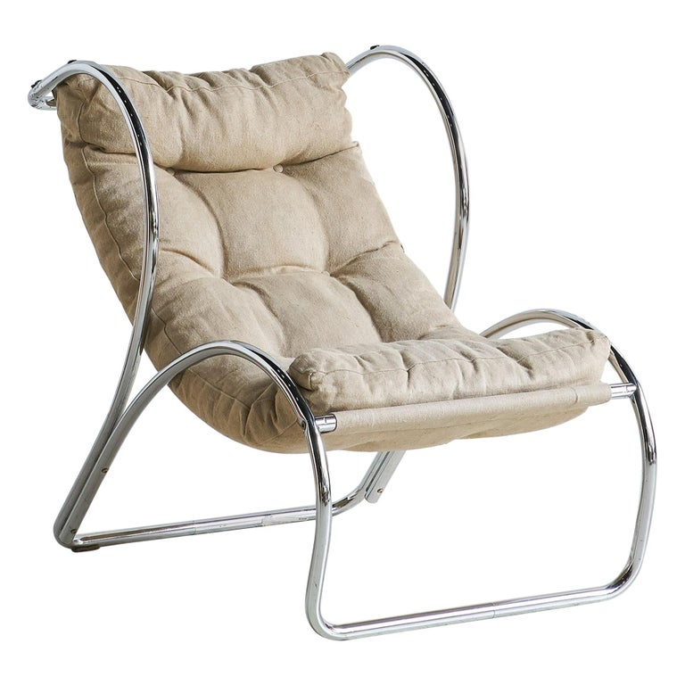 Italian Chrome Accent Chair For Sale