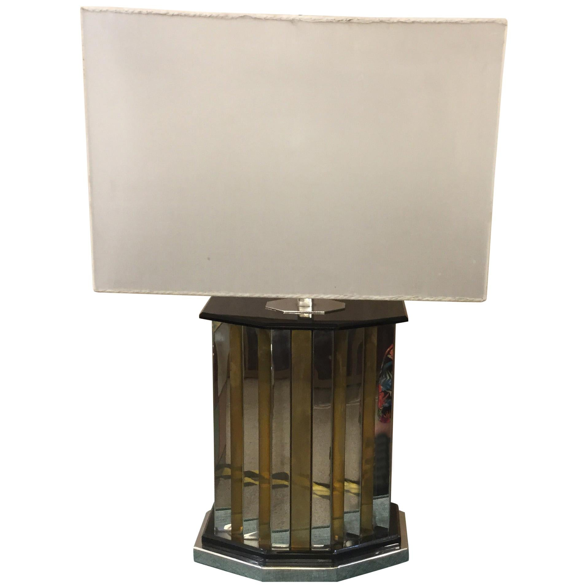 Italian Chrome and Brass Lamp by Romeo Rega, 1970s