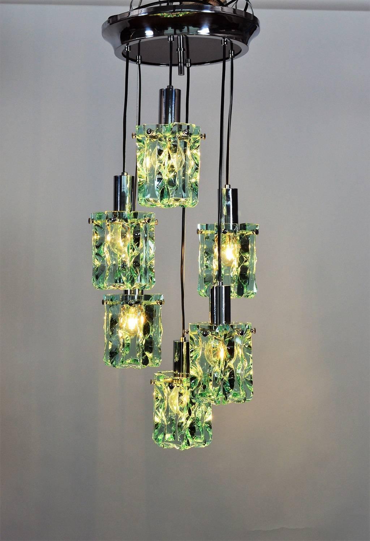 Italian Chrome and Crystal Glass Cascade Pendant with Six Lights ...