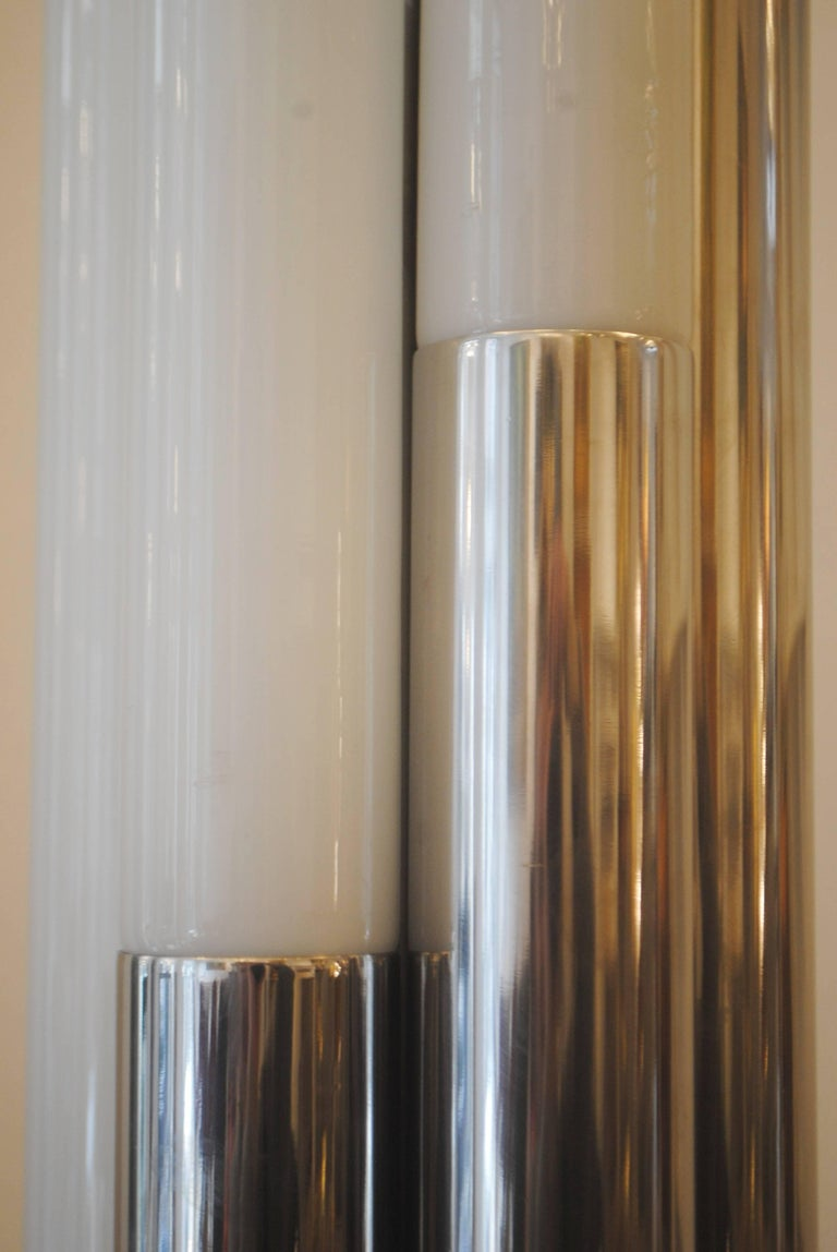 Italian Chrome and Opaline Floor Lamp, 1960s In Good Condition For Sale In Brussels, BE