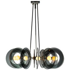 Italian Chrome and Smoked Glass Chandelier