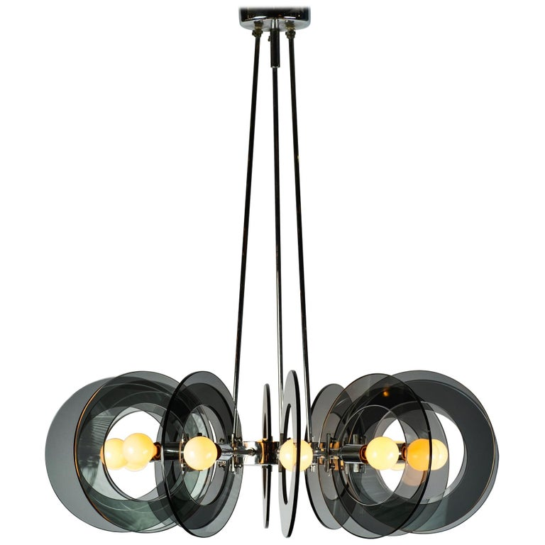Italian Chrome and Smoked Glass Chandelier For Sale