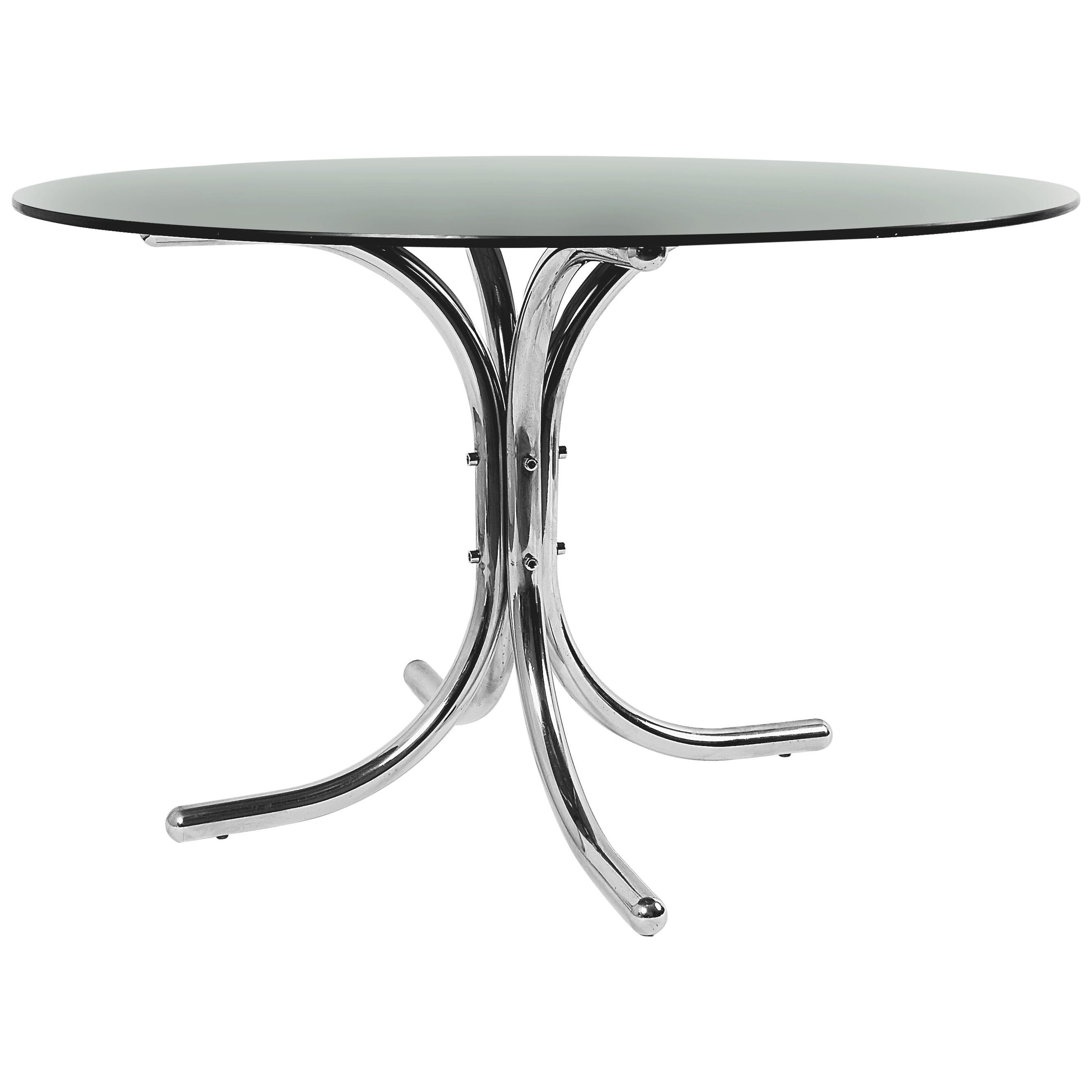 Italian Chrome Base Smoked Glass Top Dining Table in Giotto Stoppino Style 1970s