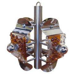 Italian Chrome Ceiling Lamp with Murano Glass