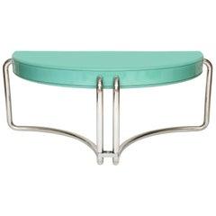 Italian Chrome Lacquer Green Desk 1970s, Midcentury