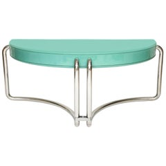 Italian Chrome Lacquer Green Desk 1970s, Midcentury