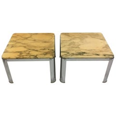 Vintage French Chrome Marble Coffee Tables in the Style of Maria Pergay, 1970