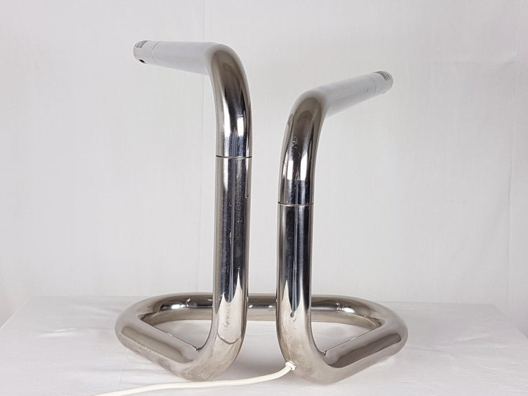 Space Age Italian Chrome-Plated Metal 1970s Adjustable Tubolar Lamp For Sale