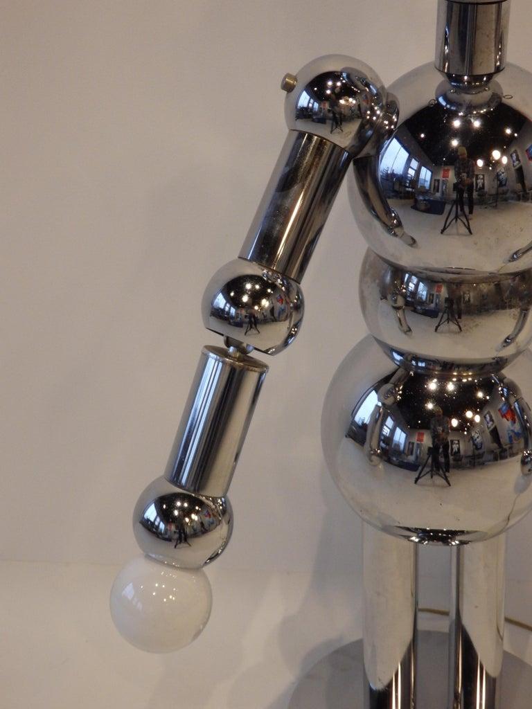 Italian Chrome Robot Lamp by Torino For Sale 7