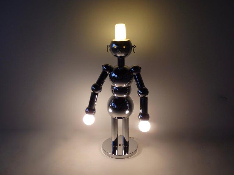 Italian Chrome Robot Lamp by Torino For Sale 11