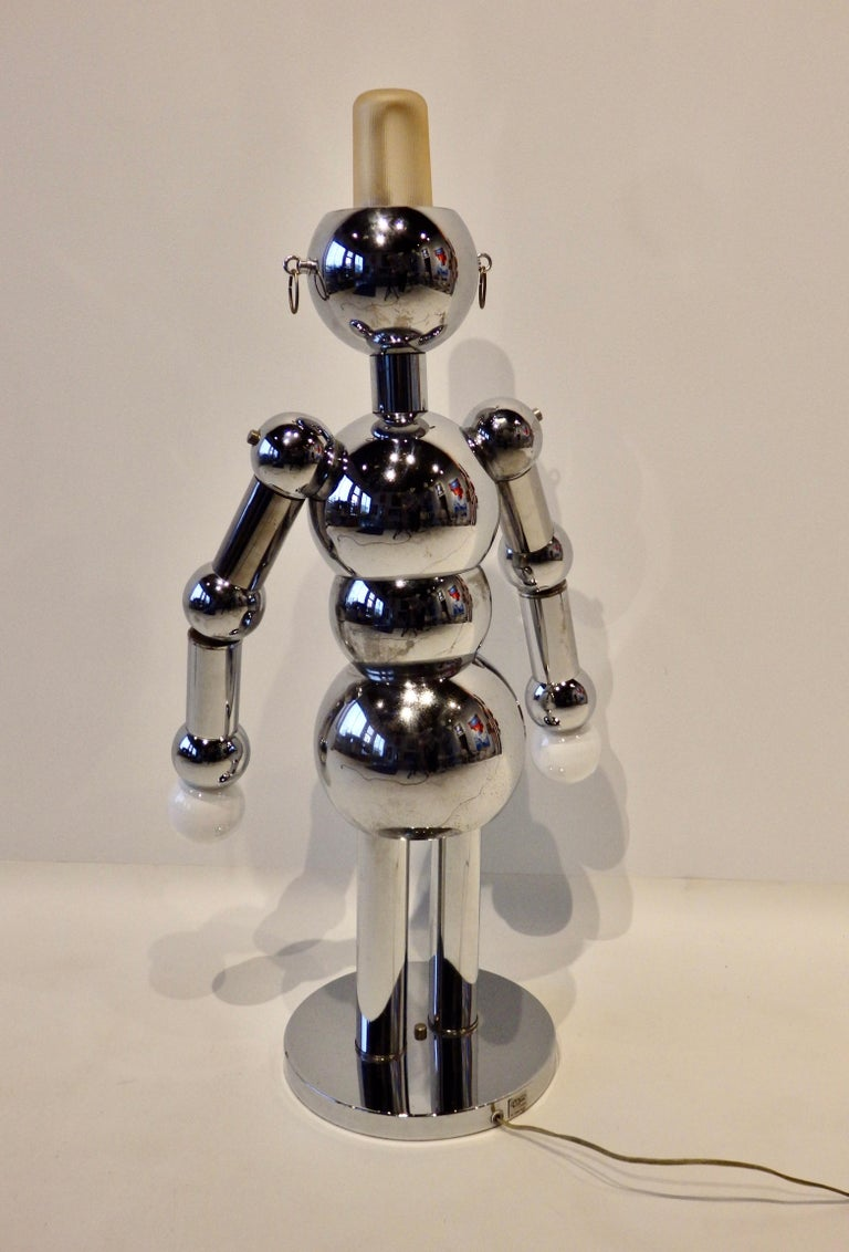 Hand-Crafted Italian Chrome Robot Lamp by Torino For Sale