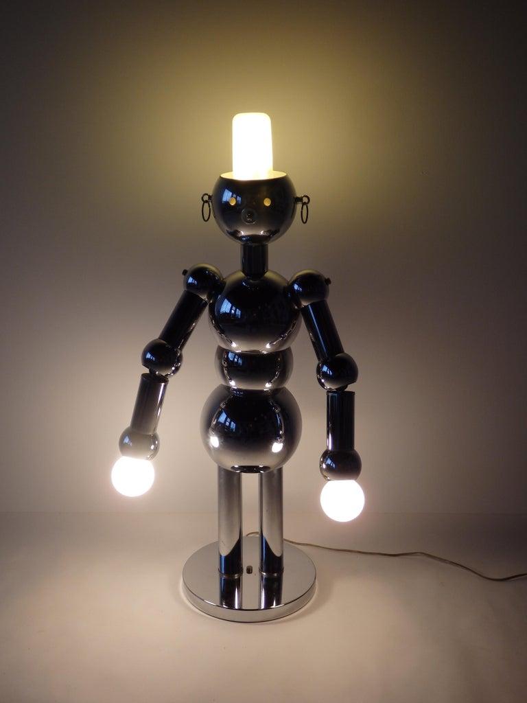 20th Century Italian Chrome Robot Lamp by Torino For Sale