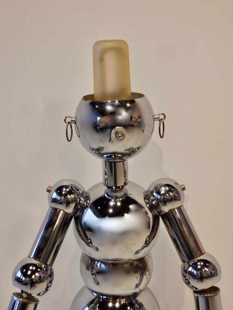 Italian Chrome Robot Lamp by Torino For Sale 1