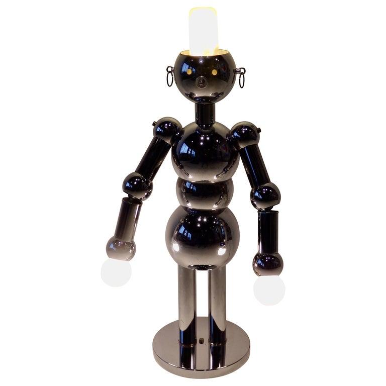 Italian Chrome Robot Lamp by Torino For Sale