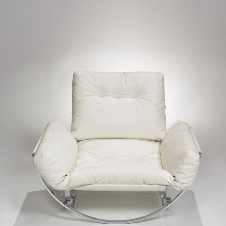 Mid-Century Modern Italian Chrome Tufted Lounge Chair and Ottoman by Stendig For Sale