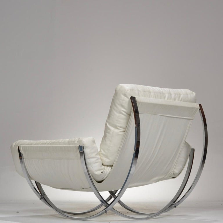 Italian Chrome Tufted Lounge Chair and Ottoman by Stendig In Good Condition For Sale In Los Angeles, CA