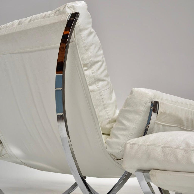 Late 20th Century Italian Chrome Tufted Lounge Chair and Ottoman by Stendig For Sale