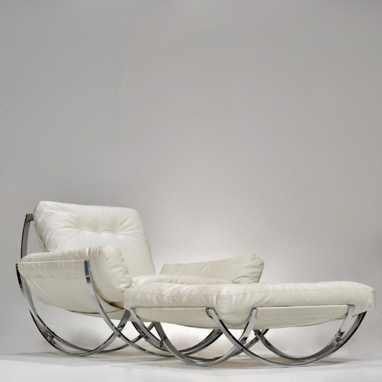 Faux Leather Italian Chrome Tufted Lounge Chair and Ottoman by Stendig For Sale