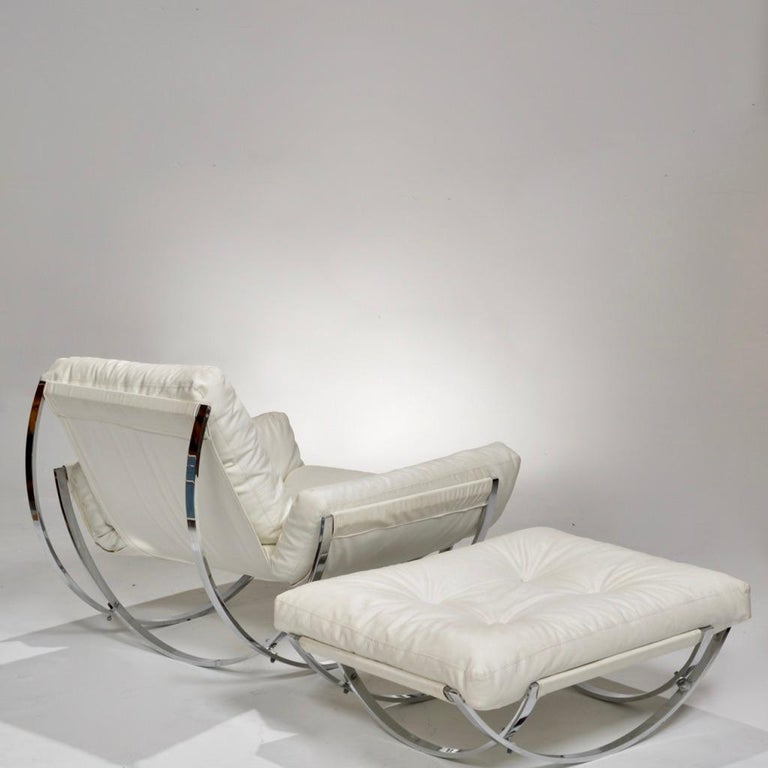 Italian Chrome Tufted Lounge Chair and Ottoman by Stendig For Sale 1