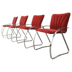 Italian Chromed Metal and Red-Brick Velvet, Dining Chairs, 1970s