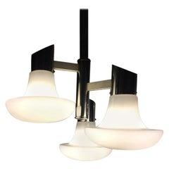 Italian Chromed Steel and Opaline Glass Three-Light Ceiling Lamp, 1970s