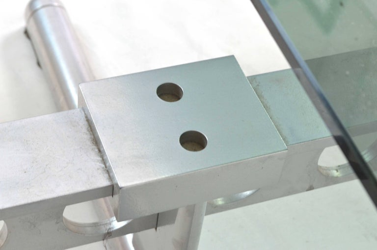 Italian Chromed Steel and Smoked Glass Ouverture Coffee Table for Frau, 1980s In Good Condition In Milano, IT