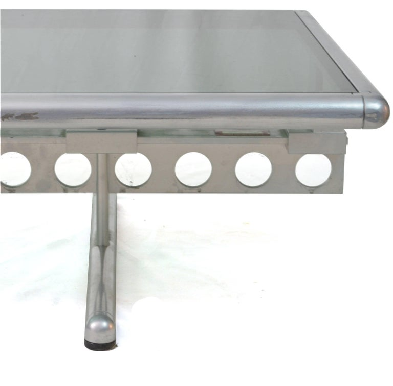 20th Century Italian Chromed Steel and Smoked Glass Ouverture Coffee Table for Frau, 1980s