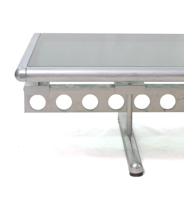 Italian Chromed Steel and Smoked Glass Ouverture Coffee Table for Frau, 1980s 1