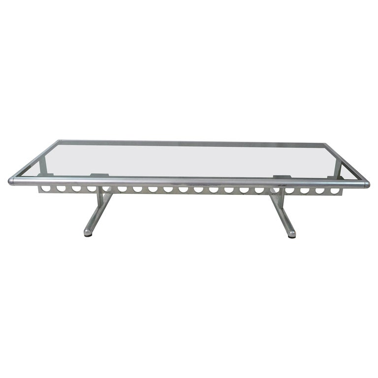 Italian Chromed Steel and Smoked Glass Ouverture Coffee Table for Frau, 1980s