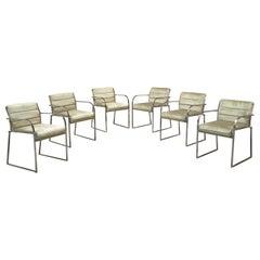 Italian Chromed Steel Frame and Velvet Covered Seat Chairs, 1970s
